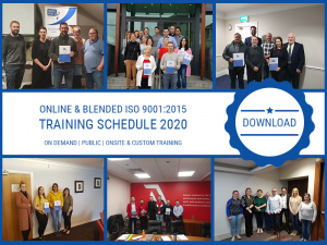 Online and Blended ISO 9001:2015 Training Schedule 2020