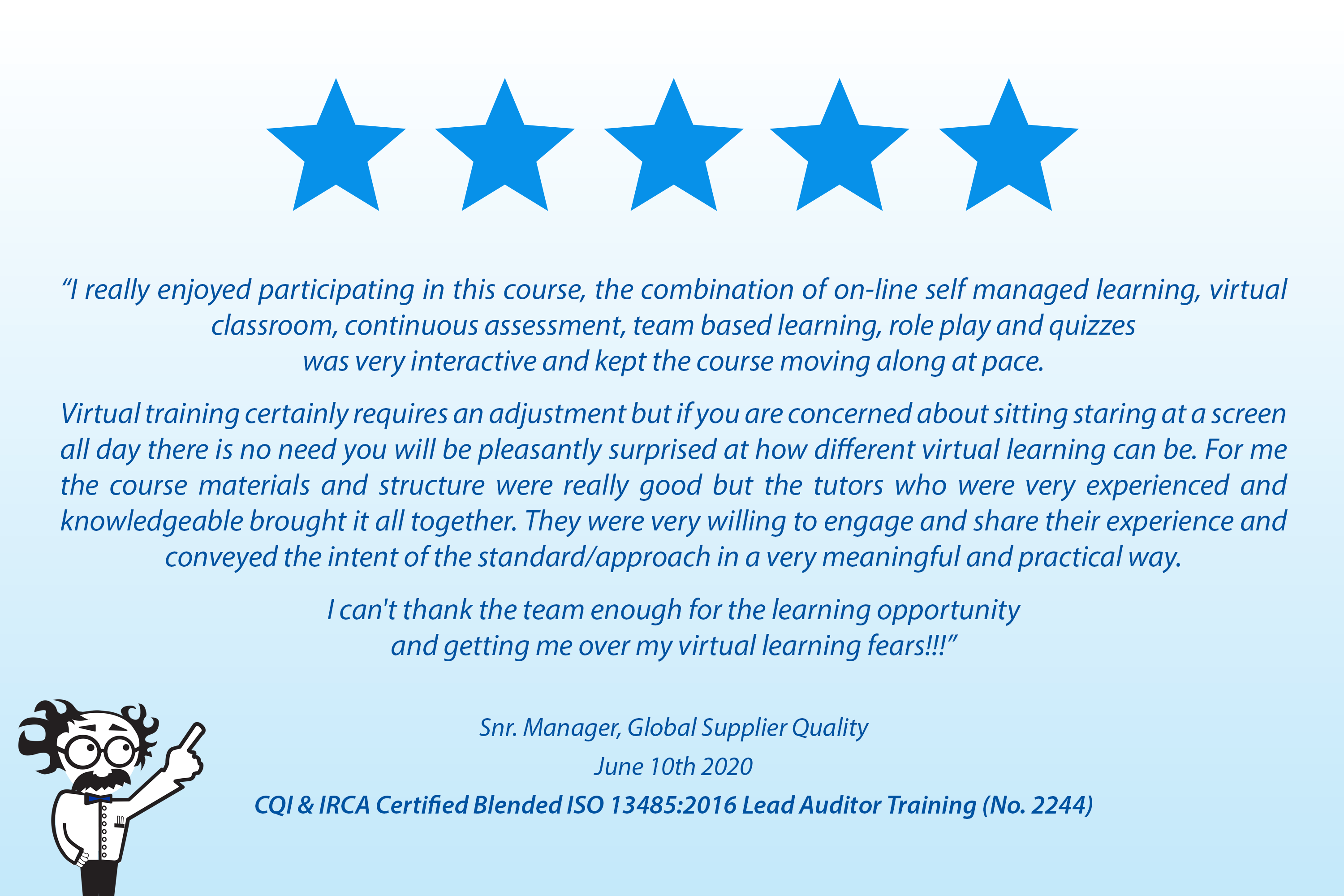 Wonderful Customer Review of Online & Virtual Training